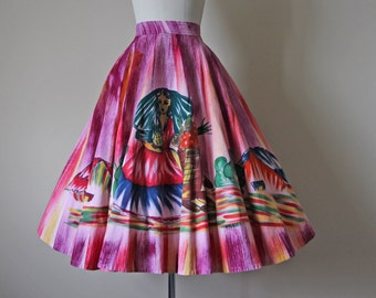 50s Skirt - Vintage 1950s Mexican Painted Skirt - Colorful Hand Painted Novelty Print Cotton Circle Skirt S to L - Frutas Frescas Skirt