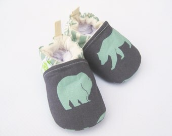 Organic Vegan Blue Bear / All Fabric Soft Sole Baby Shoes / Babies Booties Gift