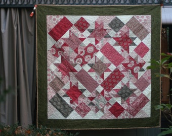 French Country Cottage Christmas Throw/Lap Quilt