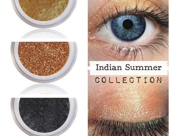 Bronze Gold Eye Shadow Kit Palette, Natural Eye Color, Pure Mineral Makeup, Eco Eyeshadow, Color Cosmetics, Fall Makeup Eyes, INDIAN SUMMER