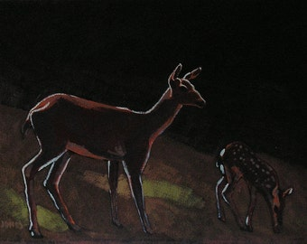 Original Plein Aire Style OIl Painting, Deer And Fawn In Clearing, Realistic Wildlife Landscape