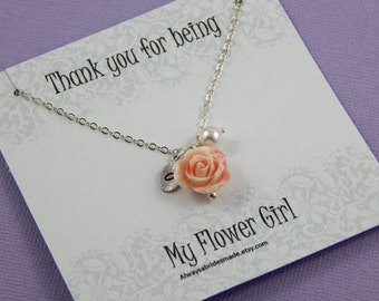 Flower Girl Necklace,  Personalized hand stamped leaf, Flower Girl Gift Junior Bridesmaids, Flower Girl Thank You - Gift Boxed Jewelry