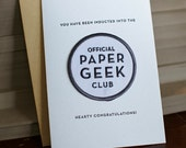 Paper Geek Club - letterpress card & embroidered patch