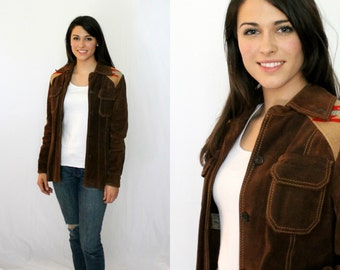 Chimayo Indian Blanket and Brown Suede Leather Jacket - Ms. Pioneer Women XS S - Vintage