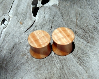 "12.5mm quilted maple wood ear plugs, hand crafted 1/2"" gauge set of organic flesh plugs"