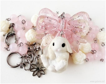 White Bunny Necklace, Pastel Pink, Beaded Chain, Stainless Steel, Bunny Jewelry, Sweet Lolita, Spring, Fairy Kei