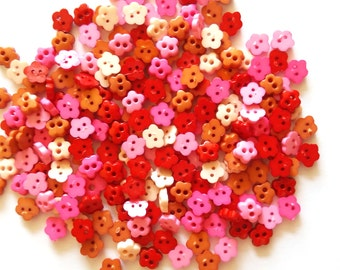 100 pcs - Cute Cherry Blossom Flower Button - Red Pink Brown Beige color