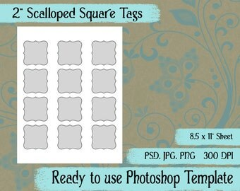 """Scalloped Square Seals, Tags - Digital Layered Collage Sheet Template:  2"""" x 2"""""""