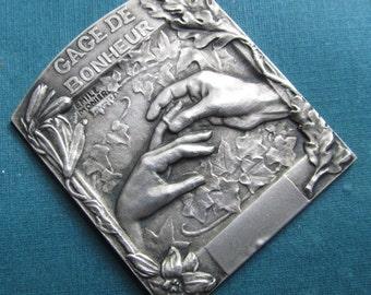 Marriage Art Nouveau French Silver Religious Art Medal By Emile Monier Antique Adrien Chobillon Makers Mark And Box Gage De Bonheur
