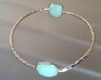 Sea green chalcedony sterling silver Bangle