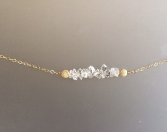 Genuine Herkimer Diamonds and Gold Filled Stardust Beads on Gold filled Necklace, gemstone, wire wrapped, 14k gold filled, layering necklace