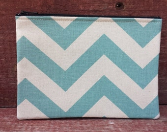 Zipper Pouch Aqua Chevron Handmade in Iowa