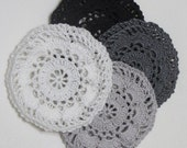 Gray, Black, White Hair Net / Bun Cover Crocheted flower style Set of 4