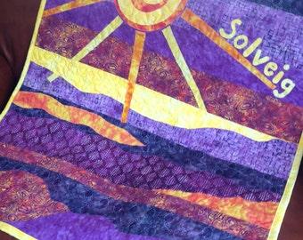 SBaby Quilt Girl - Sun Purple Yellow - Art Quilt - Batik Fabrics - Purple Yellow Orange Lavender - Boy Or Girl - Unisex - Gender Neutral