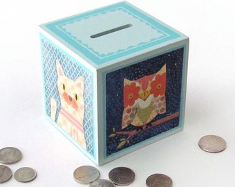 Animals Wood Piggy Bank - Wooden Coin Bank Animals - Bear, Owl, Elephant and Cat savings Bank - Coin bank Cube