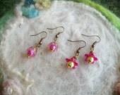Tiny  Earrings, Lucite Flowers, Pink Pixie Flower Earrings, 2 Pair