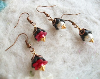 Tiny Earrings, Lucite Flowers, Pixie Flower Earrings, 2 Pair