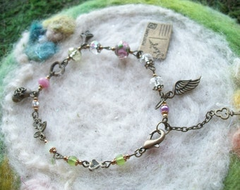 Romantic Charm Bracelet with Crystal Beads and Filigree Findings Beaded Link Chain Colorful Glass Beads Wings and Hearts