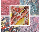 5  MARMORPAPIER, marbled paper, 5 sheets  pack   Scrapbooks,  supply  florentine paper. 19.5