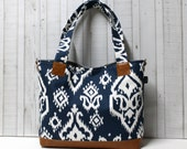 READY TO SHIP - Navy Ikat with Faux Leather - Tote Bag /  Diaper Tote /  Medium Bag