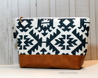 Aztec in Gunmetal with Vegan Leather - Large Make Up Bag / Diaper Clutch / Bridesmaid Gift