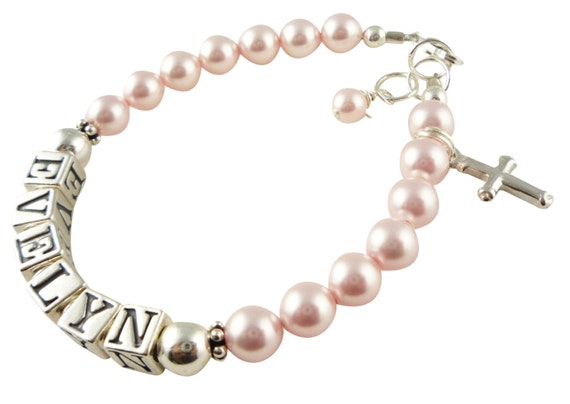 Baptism Bracelet with rosaline pink swarovski pearls for baby and girls