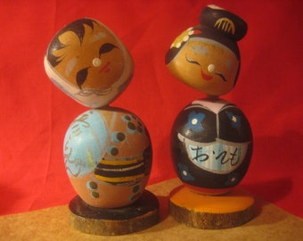 Vintage Japanese Nodder Kokeshi Wedding Cake Toppers