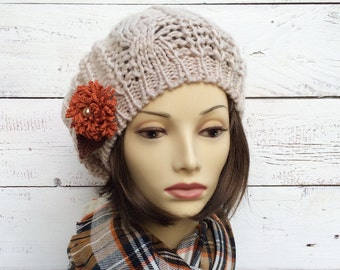 Knit Beret, Fawn Beige Beret, Beige Hat with Orange Flower Pin, Knit Hat, Tan Knit Hat with Flower, Fall Hat, Tam, Knitted Beret, Women Hat