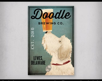 FREE CUSTOMIZATION Goldendoodle Labradoodle Doodle Brewing Company Beer Sign Gallery Wrapped Canvas Wall Art -  Ready-to-Hang