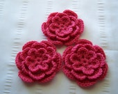 Crochet set of 3 flowers pink 3 inch embellishment wool petunia 75