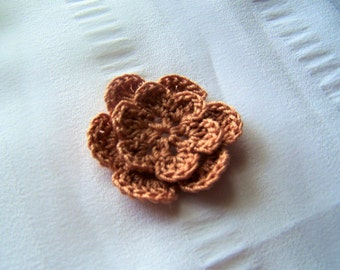 Crocheted flowers tan color cotton 1.5 inch one flower discontinued color