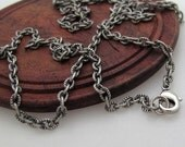 Antique Chain Necklace 17 inch - Oval Link Vintage Chain 43 cm with ring clasp for Pendant, Charm, Tag - Only chain - Unisex Dark Chains