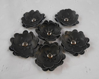 Handmade Paper Flowers Black with brad centers Set of 6 embellishments for scrapbooks
