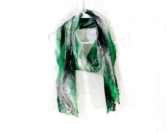 Cobweb Felted Scarf Wool Scarf Gifs for Her Long Scarf Green Scarf Womens Scarf Winter Accessory Lightweight Scarf in Black and White Green