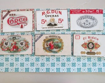 COOL Vintage Lot of 6 Wooden Cigar Box Tops