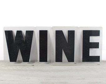 WINE - Vintage Acrylic Marquee - 8 Inch Clear Plastic Letters