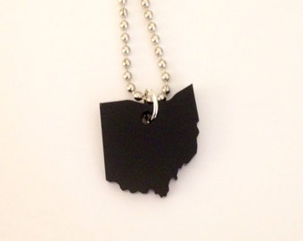 State Shape Necklace - Small Ohio Jewelry in Laser Cut Black Acrylic Plastic