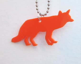 Lasercut Acrylic Orange Fox Necklace, Animal Shape, Plastic Jewelry