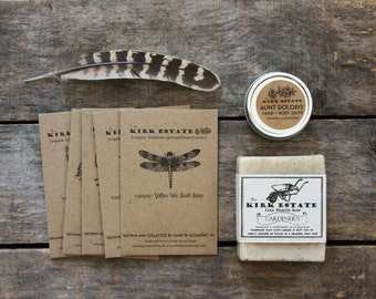 Ultimate Gardener Gift Set // gardener soap + 5 seed packets + hand salve // organic heirloom seeds // eco friendly gift // gift box