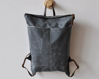 DAY PACK - charcoal waxed canvas