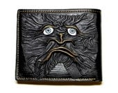 Dragon eye black genuine leather wallet with monster face. Credit/ID card bifold leather cow Mens Black.