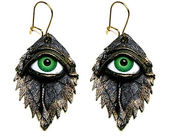 Evil eye black antiqued leather earrings.  Feather earrings. Halloween earrings. Horror earrings. Eyeball earrings. LARP. Statement earrings