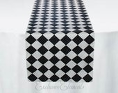 Black and White Table Runner Diamond Check Table Centerpiece Harlequin Decor Wedding Linens Black Retro Decor Free Ship