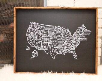 USA Map CUSTOMIZABLE Handmade Wood Sign