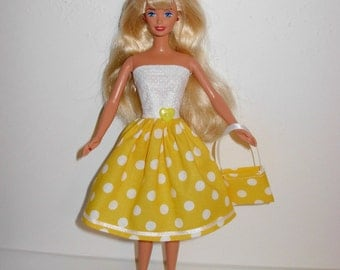 Handmade barbie clothes, CUTE dress and bag 4 barbie doll