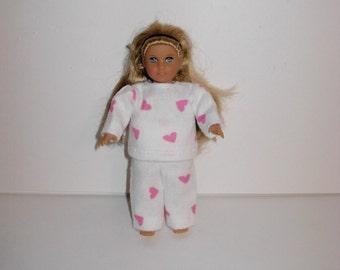Handmade clothes. Cute pajamas for Mini American girl doll 6 1/2 inch