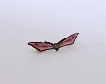 Vintage purple enamel tiny moth pin