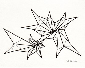 5 x 7 Original freehand drawing - black and white abstract modern art - small art - modern - contemporary - home decor -  (B154)