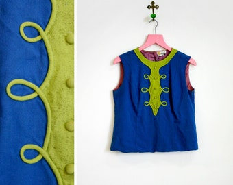 Vintage 1960s Mod Blue and Green Sleeveless Top Styled by Phyllis Size M