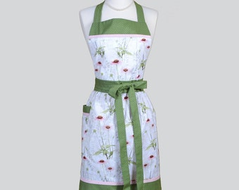 Classic Bib Apron . Garden Herbs and Lavender Full Chef Apron Ideal for Personalized or Monogrammed Gift for Her